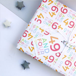 50th Birthday '49 And Four Quarters' Wrapping Paper Set - ribbon & wrap