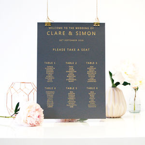 Gold And Grey Metallic Wedding Seating Plan Table Plan - statement wedding decor
