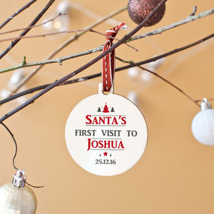 Personalised 'Santa's First Visit' Christmas Bauble