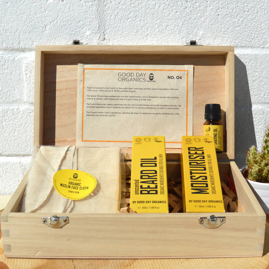 organic beard grooming gift box vegan and cruelty free by good day organics. Black Bedroom Furniture Sets. Home Design Ideas