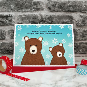 'Bears' Personalised Christmas Card From Baby Or Child