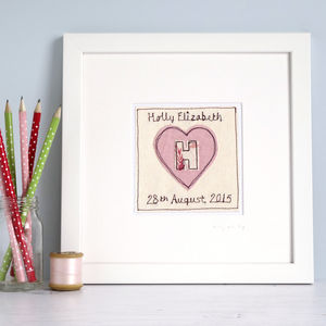 Personalised Initial Heart Picture - children's pictures & paintings