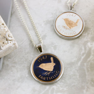Farthing 70th 1947 Birthday Enamel Coin Necklace - 70th birthday gifts