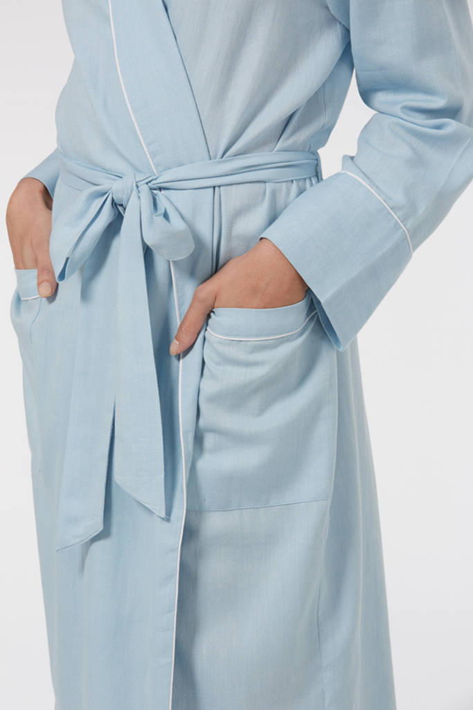 dressing gown in baby blue brushed twill by caro london ...