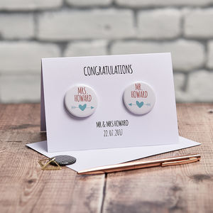 Personalised Mr And Mrs Badge Card - wedding cards