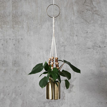 Hanging Macrame Brass Planter With Beads