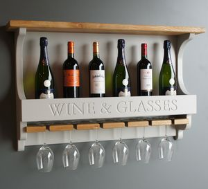 Wall Mounted Wine Rack With Wine Glasses Holder