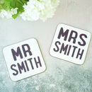 Personalised Mr And Mrs Wedding Coasters