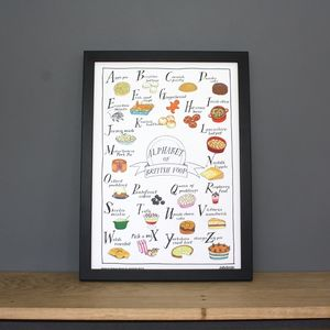 Alphabet Of British Foods A3 Print - posters & prints