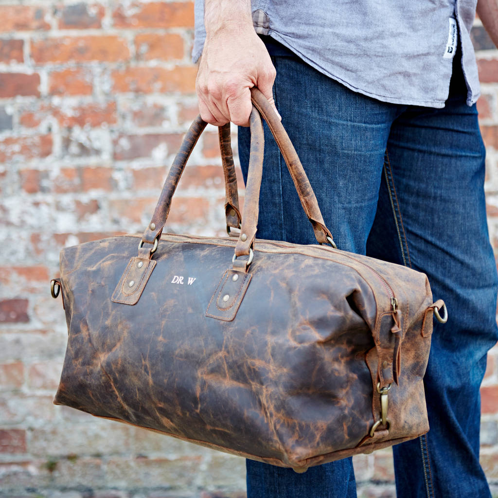 fe69d853c9c personalised buffalo leather overnight bag by paper high ...