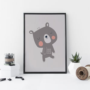 Children's Print Little Grey Bear - drawings & illustrations