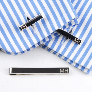 Personalised Silver Tie Slide And Bar Cufflinks Set