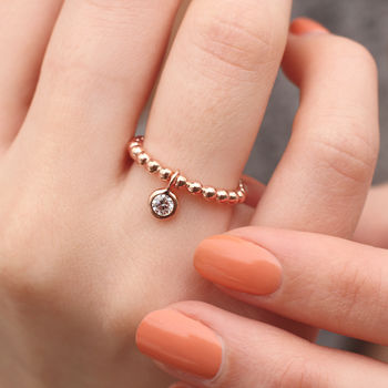 18ct Rose Gold Ball And Cubic Zirconia Charm Ring