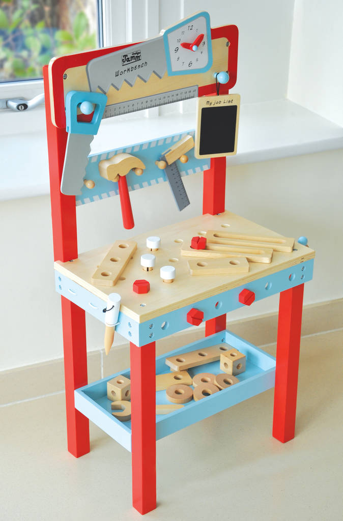 Pretend Play Workbench With Tools And 25 Accessories By Jammtoys Wooden Toys