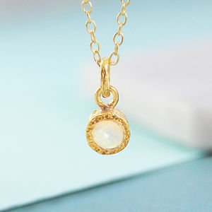 Gold Opal October Birthstone Necklace - necklaces & pendants