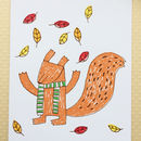Squirrel Screenprinted Card