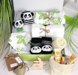 Ultimate Unisex Mum And Baby Pamper Hamper, Panda - bibs
