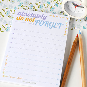 Do Not Forget List Note Pad