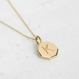 Personalised, Laser Engraved Hexagon Necklace - jewellery gifts for friends