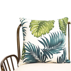 Palm Leaf And Cream Cushion Cover - bedroom