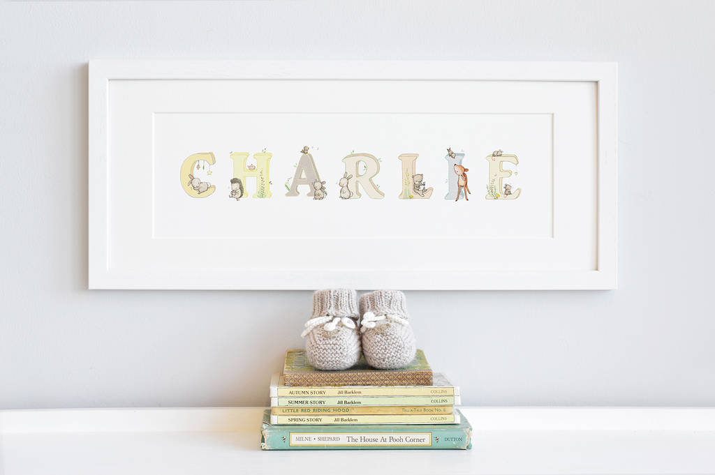 Personalised framed woodland name print