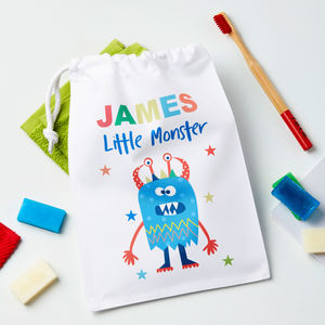 Boys Personalised Little Monster Wash Bag