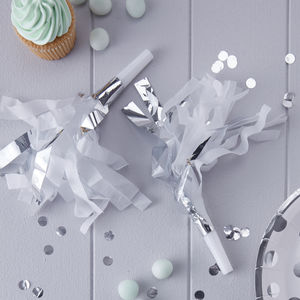 White And Silver Foiled Party Blower Horns - baby & child sale