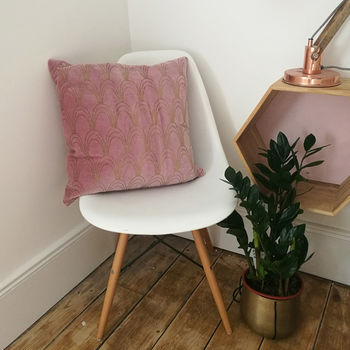 Pink And Gold Deco Cushion