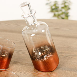 Copper Ombre Tipsy Decanter And Tumblers