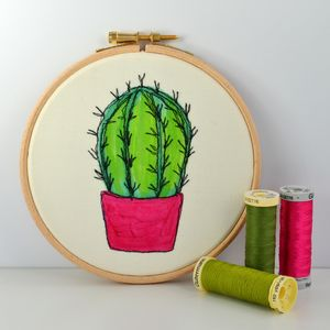 Hand Painted Small Cactus Embroidery Hoop - canvas prints & art