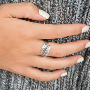 Feather Sterling Silver Adjustable Ring - gifts for her