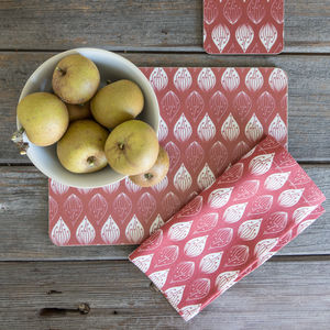Isabella Red Organic Napkins - bed, bath & table linen
