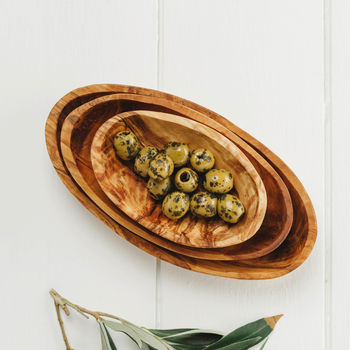 Olive Wood Nibbles Bowl Set Three