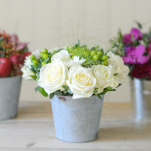 Little Bucket Of Herbs And Garden Roses Fresh Flowers - table decorations