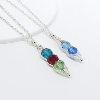 Crystal Peapod Birthstone Necklace