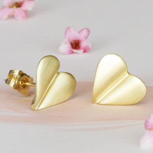 'Love Grows' 9ct Gold Heart Earrings - 50th anniversary: gold