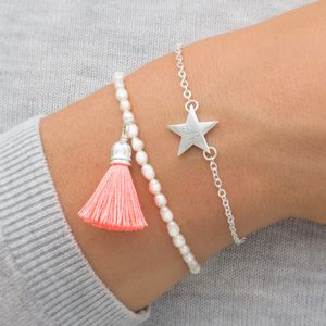 Personalised Sterling Star And Tassel Bracelet Set - gifts for her