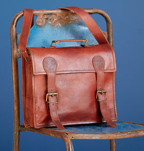 Large Old School Brown Leather Satchel - shoulder bags