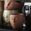 Terracotta Stoneware Face Plant Pot