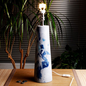 Handmade Ceramic Lamp Base Waves Design