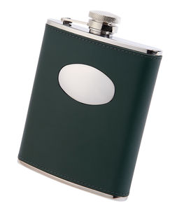 Personalised Leather Hip Flask Green
