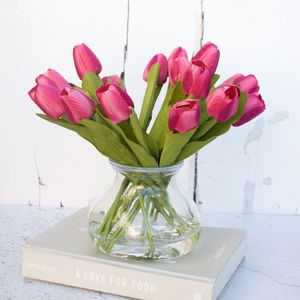 Everlasting Mid Pink Tulip Bouquet In Vase - flowers, plants & vases
