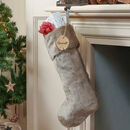 Personalised Luxe Champagne Grey Faux Fur Stocking