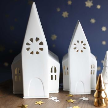 Porcelain Church Tea Light Holder