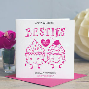 Best Friend Birthday Card 'Besties' - birthday cards