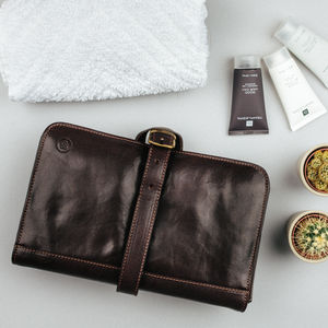 Mens Hanging Leather Wash Bag. 'The Pratello ' - shop by price