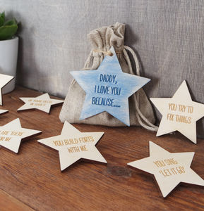 I Love You Because Personalised Message Star Tokens