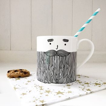 Bearded Man Monochrome Mug