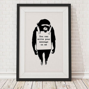 Personalised Banksy Monkey Sign Framed Print
