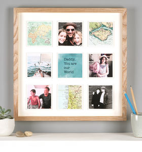 Personalised Map Photo Frame Print For Him - birthday gifts